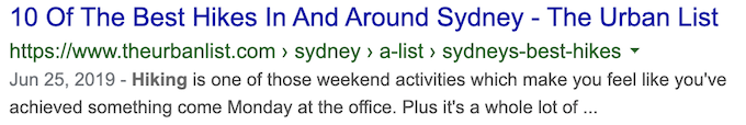 SEO Title example from SERP