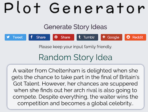 Recommended Site - Plot Generator to aid with Writer's Block