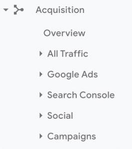 Aquisition - Google Analytics