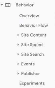 Behaviour Google Analytics