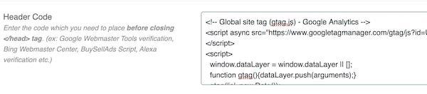 Header code for Google Analytics