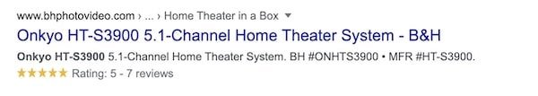 Star rating example in Google SERP