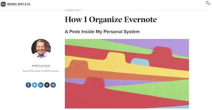How I organise Evernote - Evergreen Content Examples