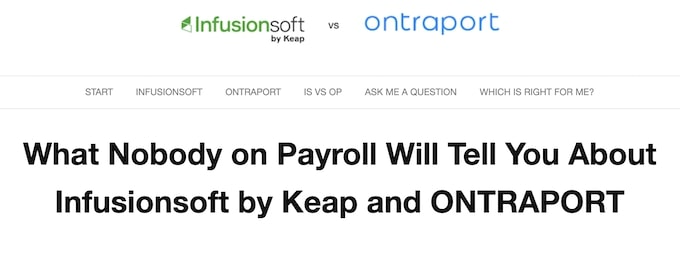 InfusionSoft vs Ontraport - Evergreen Content Examples