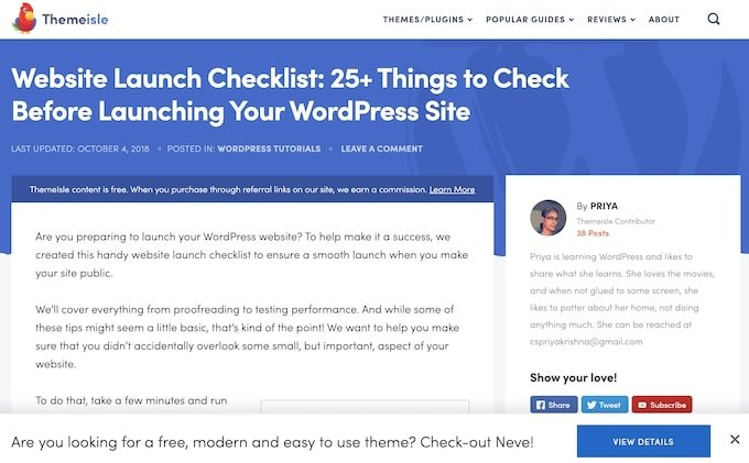 Website Launch Checklist Themeisle - Evergreen Content Examples