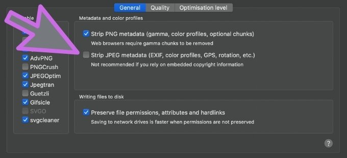 ImageOptim preferences - don't strip EXIF data