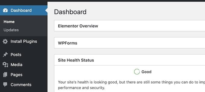 Wix vs WordPress - WordPress main menu