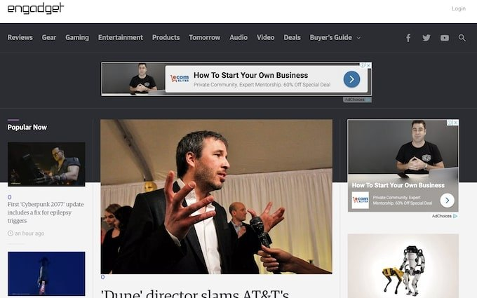 Engadget home page