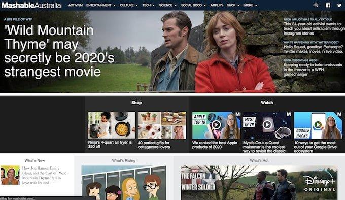 Mashable home page