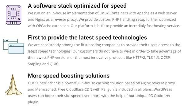 Siteground speed attributes