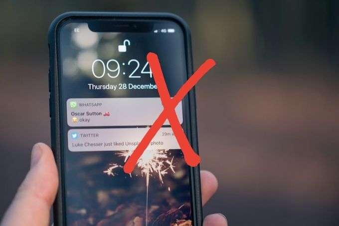 Notifications on mobile phone with cross through it - how to write a blog post in one hour